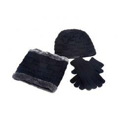 Σετ Σκούφος, Κασκόλ και Γάντια για Οθόνη Αφής Χρώματος Μαύρο SPM DYN-Men3pcGlov-BLK