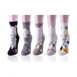 Σετ Γυναικείες Κάλτσες με Σχέδιο Γάτας 5 Ζευγάρια 35-39 SPM DYN-SocksCat