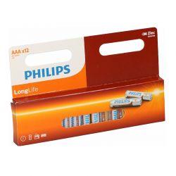 Σετ Μπαταρίες ΑAΑ R03 Zinc LongLife 1.5 V 12 τμχ Philips 809-5903384115
