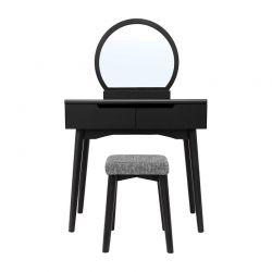 Ξύλινο Μπουντουάρ Με Καθρέπτη και Σκαμπό 80 x 40 x 128 cm Χρώματος Μαύρο Songmics RDT11BK