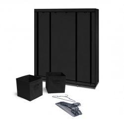 Φορητή Υφασμάτινη Ντουλάπα με Μεταλλικό Σκελετό 135 x 45 x 175 cm και Αξεσουάρ Χρώματος Μαύρο SPM 30010082