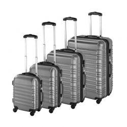 Σετ 4 Βαλίτσες Καμπίνας με 4 Ρόδες Σκληρές από ABS Χρώματος Γκρι Hoppline HOP1000938-2