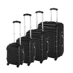 Σετ 4 Βαλίτσες Καμπίνας με 4 Ρόδες Σκληρές από ABS Χρώματος Μαύρο Hoppline HOP1000938-1