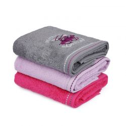 Σετ με 3 Πετσέτες Προσώπου 50 x 90 cm Χρώματος Φούξια - Λιλά - Γκρι Beverly Hills Polo Club 355BHP2257