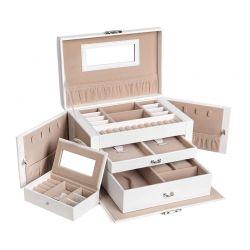Κοσμηματοθήκη - Μπιζουτιέρα 26 x 18 x 17 cm Χρώματος Λευκό Songmics JBC121W