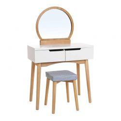 Ξύλινο Μπουντουάρ Με Καθρέπτη και Σκαμπό 80 x 40 x 128 cm Χρώματος Καφέ Ανοιχτό Songmics RDT11K