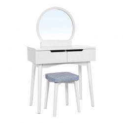 Ξύλινο Μπουντουάρ Με Καθρέπτη και Σκαμπό 80 x 40 x 128 cm Χρώματος Λευκό Songmics RDT11W