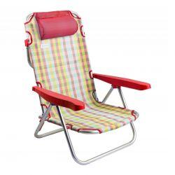 Μεταλλική Πτυσσόμενη Καρέκλα - Ξαπλώστρα Χρώματος Κόκκινο MWS16856