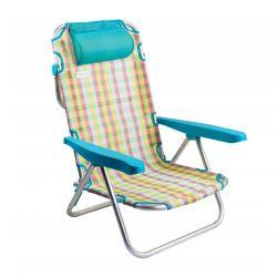 Μεταλλική Πτυσσόμενη Καρέκλα - Ξαπλώστρα Χρώματος Μπλε MWS16856