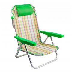 Μεταλλική Πτυσσόμενη Καρέκλα - Ξαπλώστρα Χρώματος Πράσινο MWS16856