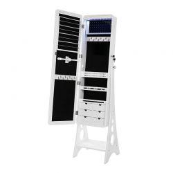 Κοσμηματοθήκη Μπιζουτιέρα με Ολόσωμο Καθρέπτη και Φωτισμό LED 38 x 40 x 156 cm Songmics JBC89WT
