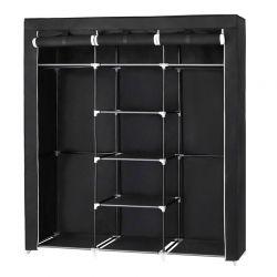 Φορητή Υφασμάτινη Ντουλάπα με Μεταλλικό Σκελετό Χρώματος Μαύρο 150 x 45 x 175 cm Songmics RYG12B