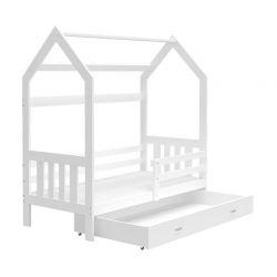 Ξύλινο Παιδικό Μονό Κρεβάτι - Σπίτι Montessori με Στρώμα και 1 Συρτάρι 190 x 80 cm SPM JAN-DOMEK190