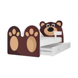 Ξύλινο Παιδικό Μονό Κρεβάτι με Στρώμα και 1 Συρτάρι 163 x 85 cm Bear SPM JAN-BED160-B