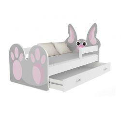 Ξύλινο Παιδικό Μονό Κρεβάτι με Στρώμα και 1 Συρτάρι 163 x 85 cm Rabbit SPM JAN-BED160-R