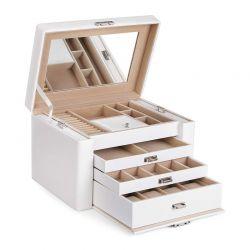 Κοσμηματοθήκη - Μπιζουτιέρα 29.5 x 19.5 x 21.8 cm Χρώματος Λευκό Songmics JBC04W