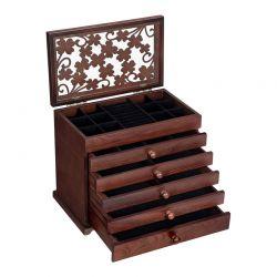 Ξύλινη Κοσμηματοθήκη - Μπιζουτιέρα με 5 Συρτάρια 31.5 x 26.5 x 19.5 cm Songmics JBC56W