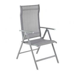 Πτυσσόμενη Καρέκλα Εξωτερικού Χώρου από Αλουμίνιο με Ρυθμιζόμενη Πλάτη Χρώματος Γκρι Songmics GCB02GY