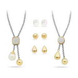 Σετ Κοσμημάτων από Κράμα Χρυσού & Ασημιού και Πέρλες με 2 Κολιέ και 3 Ζευγάρια Σκουλαρίκια Pierre Cardin PXX6868