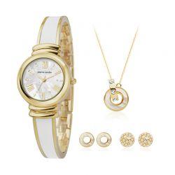 Σετ Κοσμημάτων με Γυναικείο Ρολόι Κολιέ και 2 Ζευγάρια Σκουλαρίκια Χρώματος Χρυσό Pierre Cardin PCX6007L256