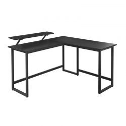 Γωνιακό Μεταλλικό Γραφείο 140 x 130 x 76 / 91.5 cm Χρώματος Μαύρο VASAGLE LWD56BK