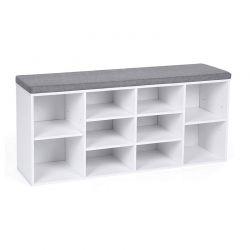 Πάγκος Αποθήκευσης Παπουτσιών με Μαξιλάρι και 10 Διαμερίσματα 104 x 30 x 48 cm Χρώματος Λευκό VASAGLE LHS10WT