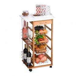 Πολυλειτουργικό Ξύλινο Τρόλεϊ Κουζίνας 83 x 47 x 37 cm Χρώματος Καφέ Ανοιχτό HOMCOM 801-121V01ND
