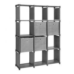 Πολυμορφική Βιβλιοθήκη με 12 Κύβους Αποθήκευσης και 4 Κουτιά 105 x 30 x 140 cm Songmics LSN34BK