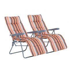 Σετ Πτυσσόμενες Καρέκλες Εξωτερικού Χώρου με Ρυθμιζόμενη Πλάτη Χρώματος Πορτοκαλί 2 τμχ Outsunny 01-0711