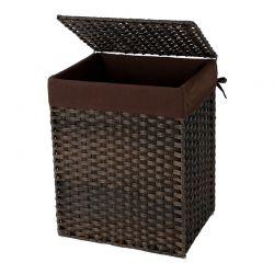 Καλάθι Απλύτων από Συνθετικό Ρατάν 90 Lt Χρώματος Σκούρο Καφέ Songmics LCB51BR