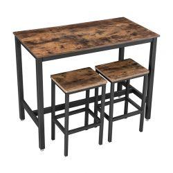 Σετ Μεταλλικό Ορθογώνιο Τραπέζι - Bar 120 x 60 x 90 cm με 2 Σκαμπό VASAGLE LBT15X