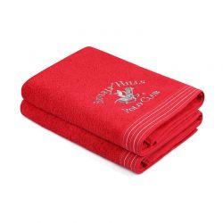 Σετ με 2 Πετσέτες Μπάνιου 70 x 140 cm Χρώματος Κόκκινο Beverly Hills Polo Club 355BHP2498