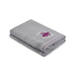Σετ με 2 Πετσέτες Προσώπου 50 x 90 cm Χρώματος Γκρι Beverly Hills Polo Club 355BHP2288