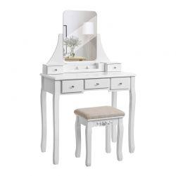 Ξύλινο Μπουντουάρ Με Καθρέπτη και Σκαμπό 80 x 40 x 137.5 cm Χρώματος Λευκό VASAGLE RDT25WT