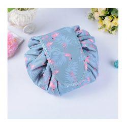 Αναδιπλούμενη Τσάντα Καλλυντικών με Κορδόνι Flamingo Χρώματος Μπλε SPM DB4011
