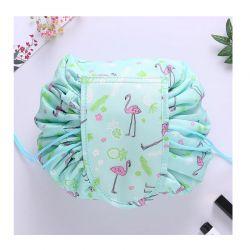 Αναδιπλούμενη Τσάντα Καλλυντικών με Κορδόνι Flamingo Χρώματος Πράσινο SPM DB4009