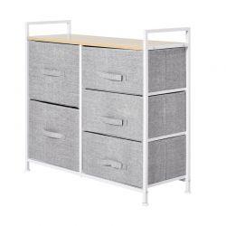 Μεταλλική Συρταριέρα με 5 Υφασμάτινα Κουτιά 83 x 29 x 77 cm HOMCOM 850-126