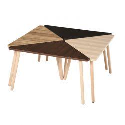 Σετ Τριγωνικά Ξύλινα Τραπέζια 80 x 80 x 42.5 cm 4 τμχ HOMCOM 833-822