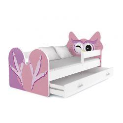 Ξύλινο Παιδικό Μονό Κρεβάτι με Στρώμα και 1 Συρτάρι 163 x 85 cm Χρώματος Ροζ Owl SPM JAN-BED160-2-O