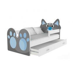 Ξύλινο Παιδικό Μονό Κρεβάτι με Στρώμα και 1 Συρτάρι 183 x 85 cm Χρώματος Μπλε Cat SPM JAN-BED180-1-C