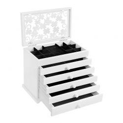 Ξύλινη Κοσμηματοθήκη - Μπιζουτιέρα με 5 Συρτάρια 31.5 x 26.5 x 19.5 cm Χρώματος Λευκό Songmics JBC55W