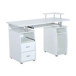 Ξύλινο Γραφείο με Θέση για Υπολογιστή και Πληκτρολόγιο 120 x 55 x 85 cm Χρώματος Λευκό HOMCOM 920-011WT