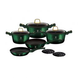Σετ Μαγειρικά Σκεύη με Τριπλή Μαρμάρινη Επίστρωση Τιτανίου 10 τμχ Emerald Edition Berlinger Haus BH-6065