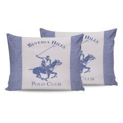 Σετ Μαξιλαροθήκες 50 x 70 cm 2 τμχ Χρώματος Μπλε Beverly Hills Polo Club 176BHP0123