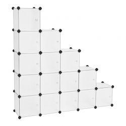 Σύστημα Αποθήκευσης - Ντουλάπα με 16 Κύβους 153 x 31 x 153 cm Χρώματος Λευκό Songmics LPC44BS