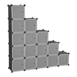 Σύστημα Αποθήκευσης - Ντουλάπα με 16 Κύβους 153 x 31 x 153 cm Χρώματος Μαύρο Songmics LPC44HS