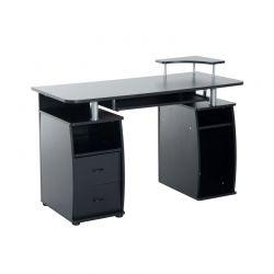 Ξύλινο Γραφείο με Θέση για Υπολογιστή και Πληκτρολόγιο 120 x 55 x 85 cm Χρώματος Μαύρο HOMCOM 920-011BK
