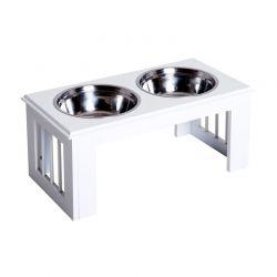 Σετ Ανοξείδωτα Μπολ Γεύματος με Ξύλινη Βάση για Κατοικίδια Χρώματος Λευκό PawHut D08-015WT