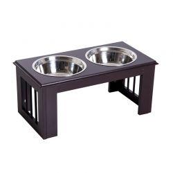 Σετ Ανοξείδωτα Μπολ Γεύματος με Ξύλινη Βάση για Κατοικίδια Χρώματος Σκούρο Καφέ PawHut D08-015CF