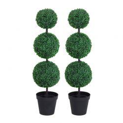Σετ Τεχνητά Φυτά Πυξάρι 112 cm 2 τμχ Outsunny 844-262V01